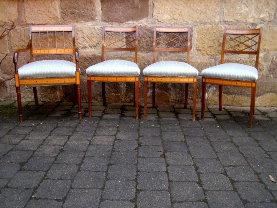 4er Satz  Mahagoni Stühle – Dänemark 1820