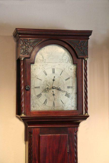 Standuhr Schottland ca 1780 Mahagoni Ziffernblatt versilbert 8 Tage Uhrwerk