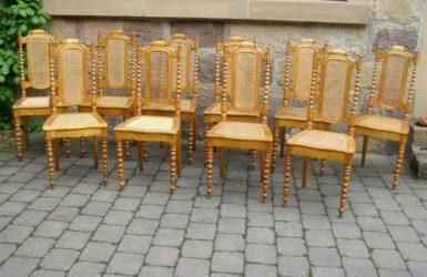 10er Satz Stühle Norddeutschland um 1850 aus Birke