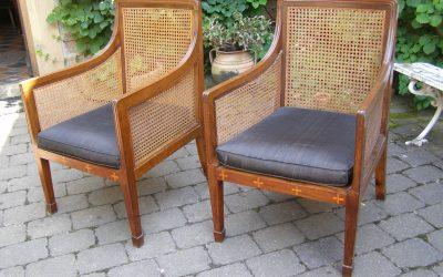 Sessel aus Mahagoni mit Intarsien, Norddeutsch um 1900