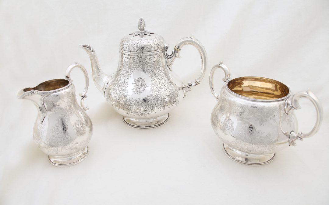 3 teiliges Teeservice Silber, Viktorianische Epoche aus London um 1885