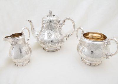 3 teiliges Teeservice Silber, Viktorianische Epoche London um 1885