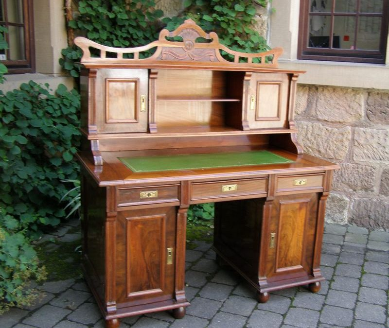Schreibtisch Jugendstil 1900 Nussbaum