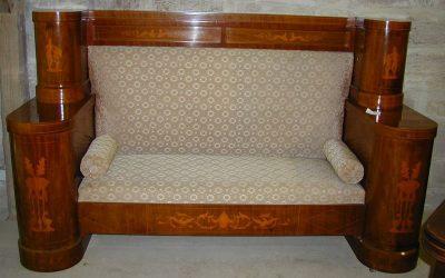Sofa Dänemark um 1900 Mahagoni mit Intarsien